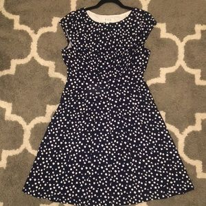 Navy and white polka dot A-line dress size Medium